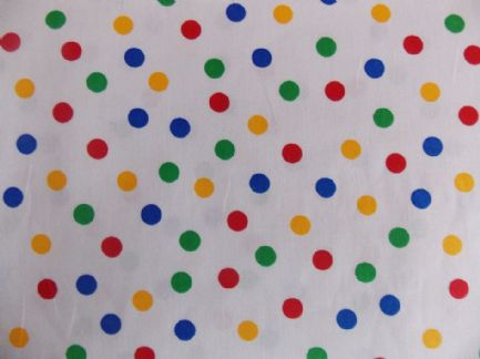 White with 7mm Multi Primary Spot 100% Cotton Fabric (1)